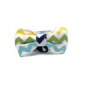 SmallDog Bow and Collar in Chevron Design